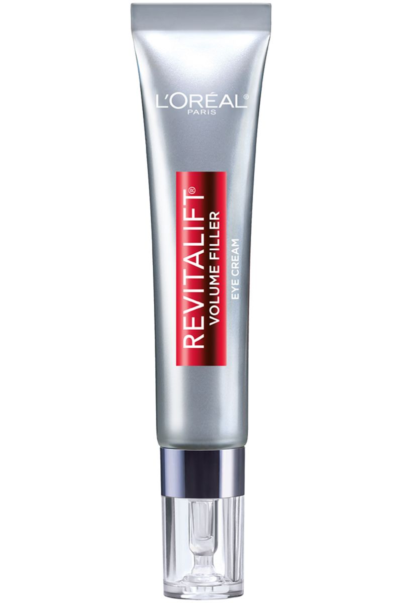 """<p>This refreshing gel-cream contains caffeine to wake up tired eyes and help mask dark circles, and hyaluronic acid to gradually reduce the appearance of crow's feet. </p><p><strong>L'Oréal Paris </strong>Revitalift Volume Filler Eye Treatment, $25, <a href=""""http://www.drugstore.com/products/prod.asp?pid=569494&catid=182915&aid=338666&aparam=569494&kpid=569494&CAWELAID=120142990000197764&CAGPSPN=pla"""" target=""""_blank"""">drugstore.com</a>.</p>"""