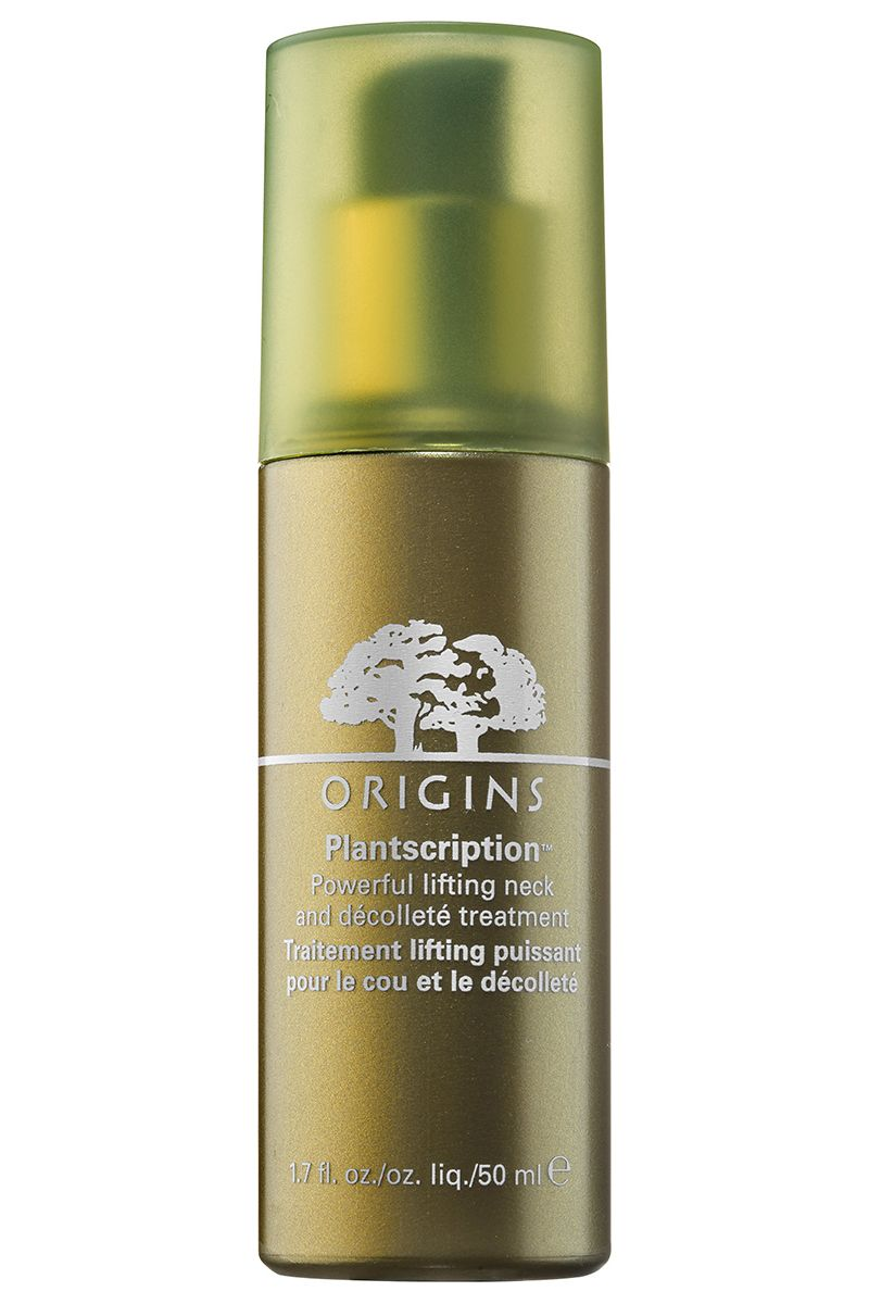 """<p>Take preventative measures against neck and chest damage with this plant-based serum that uses anogeissus—antioxidant-rich African tree bark that functions like an all-natural retinoid—to target age spots and fine lines.</p><p><strong>Origins</strong> Plantscription Powerful Lifting Neck & Décolleté Treatment, $60, <a href=""""https://www.origins.com/product/15349/39815/skincare/treat/treatment-lotions/Plantscription/Powerful-lifting-neck-dcollet-treatment"""" target=""""_blank"""">origins.com</a>.</p><p><strong><strong></strong></strong></p>"""