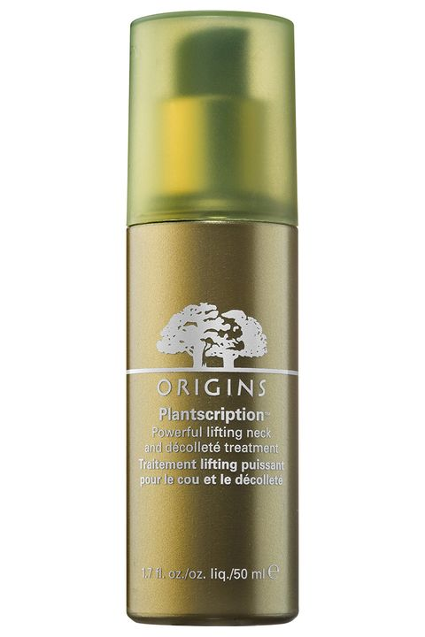 "<p>Take preventative measures against neck and chest damage with this plant-based serum that uses anogeissus—antioxidant-rich African tree bark that functions like an all-natural retinoid—to target age spots and fine lines.</p><p><strong>Origins</strong> Plantscription Powerful Lifting Neck & Décolleté Treatment, $60, <a href=""https://www.origins.com/product/15349/39815/skincare/treat/treatment-lotions/Plantscription/Powerful-lifting-neck-dcollet-treatment"" target=""_blank"">origins.com</a>.</p><p><strong><strong></strong></strong></p>"