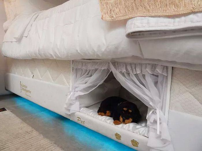 "<p>If you don't want your pup tucked under the covers with you, you can still keep him close thanks to <a href=""http://www.housebeautiful.com/lifestyle/kids-pets/news/a5168/pet-human-combo-bed/"" target=""_blank"">this private nook</a>  — complete with frilly curtains.</p><p><a href=""http://www.seucolchaointeligente.com.br/"" target=""_blank""><em>See more at Colchão Inteligente Postural »</em></a><a class=""body-el-link standard-body-el-link"" href=""http://www.seucolchaointeligente.com.br/"" target=""_blank""></a></p>"