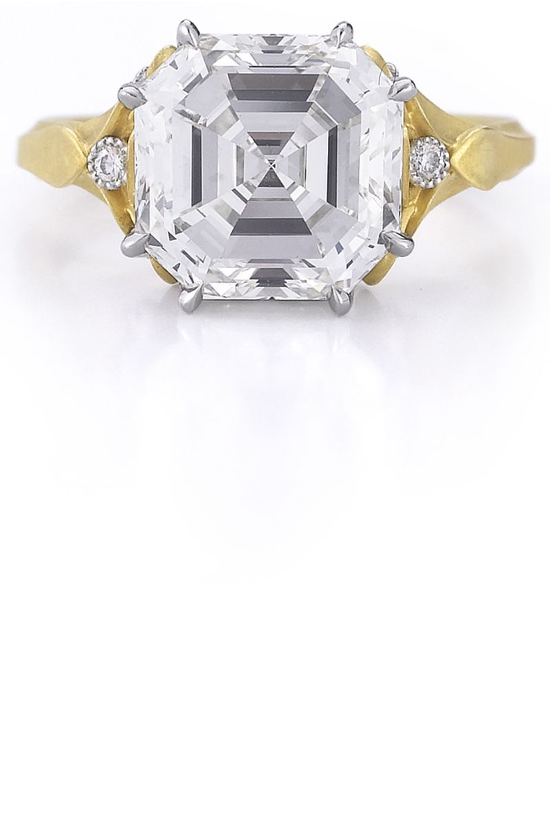 "<p>Ever since the two founders of this engagement ring go-to met in an elevator in New York's diamond district, they've collaborated on a collection that combines spectacular gems with otherworldly metalwork and craftsmanship.</p><p><span class=""redactor-invisible-space""><br><br> <em>McTeigue & McClelland 8 carat Asscher-cut ""Classic Flora"" ring handmade in 18k bloomed yellow gold and platinum. Price Upon Request, <a href=""http://www.mc2jewels.com/"">mc2jewels.com</a>. </em><br></span></p>"