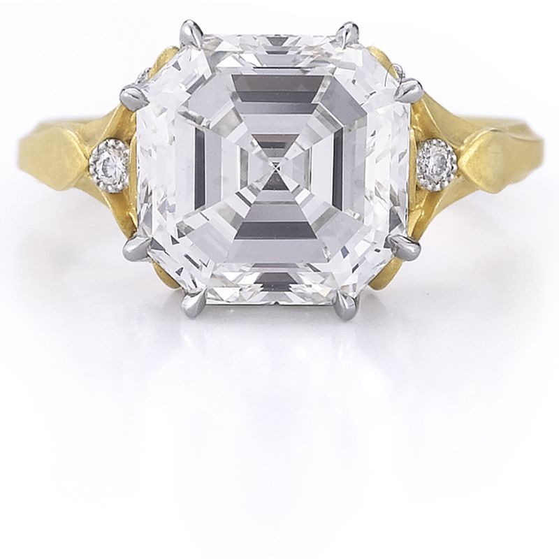 """<p>Ever since the two founders of this engagement ring go-to met in an elevator in New York's diamond district, they've collaborated on a collection that combines spectacular gems with otherworldly metalwork and craftsmanship.</p><p><span class=""""redactor-invisible-space""""><br><br><em>McTeigue & McClelland 8 carat Asscher-cut """"Classic Flora"""" ring handmade in 18k bloomed yellow gold and platinum. Price Upon Request, <a href=""""http://www.mc2jewels.com/"""">mc2jewels.com</a>. </em><br></span></p>"""