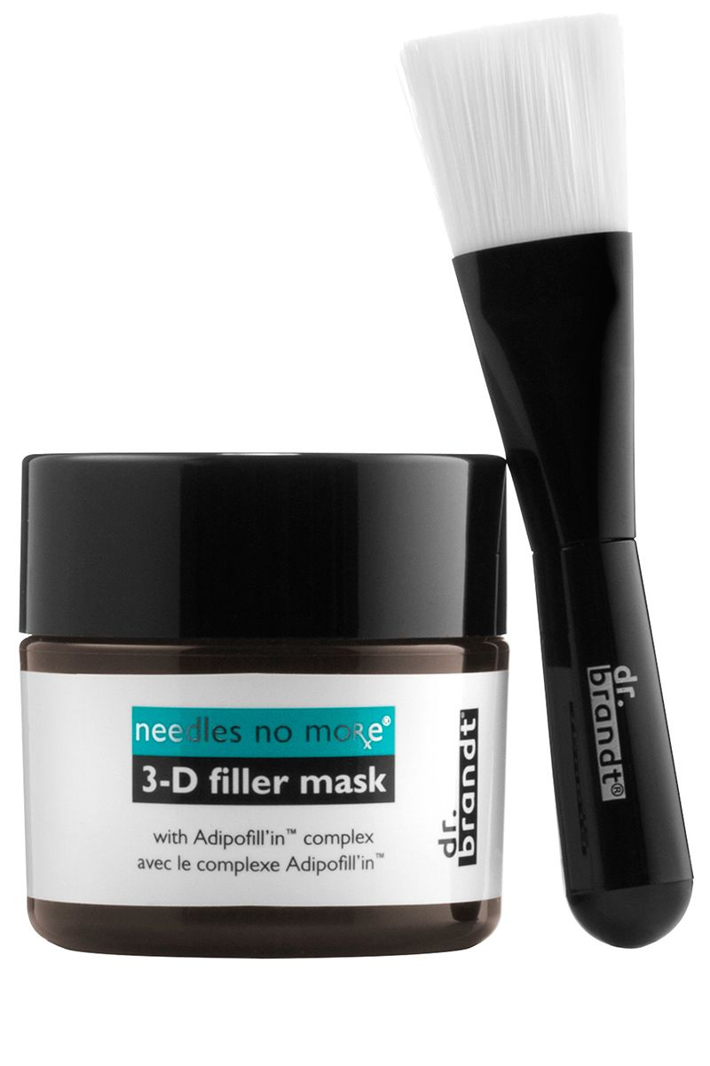 """<p>This volumizing, daily leave-on mask, created by the late dermatologist renowned for his work with next-generation injectables, contains hyaluronic acid (the key ingredient in fillers) and elasticizing amino acids and peptides that stimulate the skin, making undereye contours and cheekbones appear full and youthful. </p><p><strong>Dr. Brandt</strong> Needles No More 3-D Filler Mask, $95, <a href=""""http://www.sephora.com/needles-no-more-3-d-filler-mask-P404010"""" target=""""_blank"""">sephora.com</a>.</p>"""