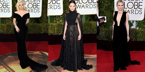 <p>Not only is black the most slimming of the spectrum, but your friends will thank you for giving them a reason to invest in a new LBD. </p><p><em>Pictured: Lady Gaga in Atelier Versace,  Emilia Clarke and Kirsten Dunst in Valentino <br></em></p>