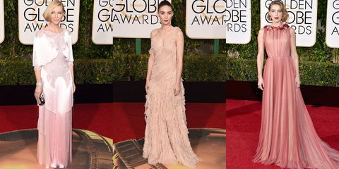 <p><strong></strong>Soft, blush tones have been brides' top pick for seasons. Instead, have your girls select their own style in the shade of rose that best suit their skin tone.</p><p><em>Pictured: Cate Blanchett in Givenchy Haute Couture, Rooney Mara in Alexander McQueen, Amber Heard in Gucci</em></p>