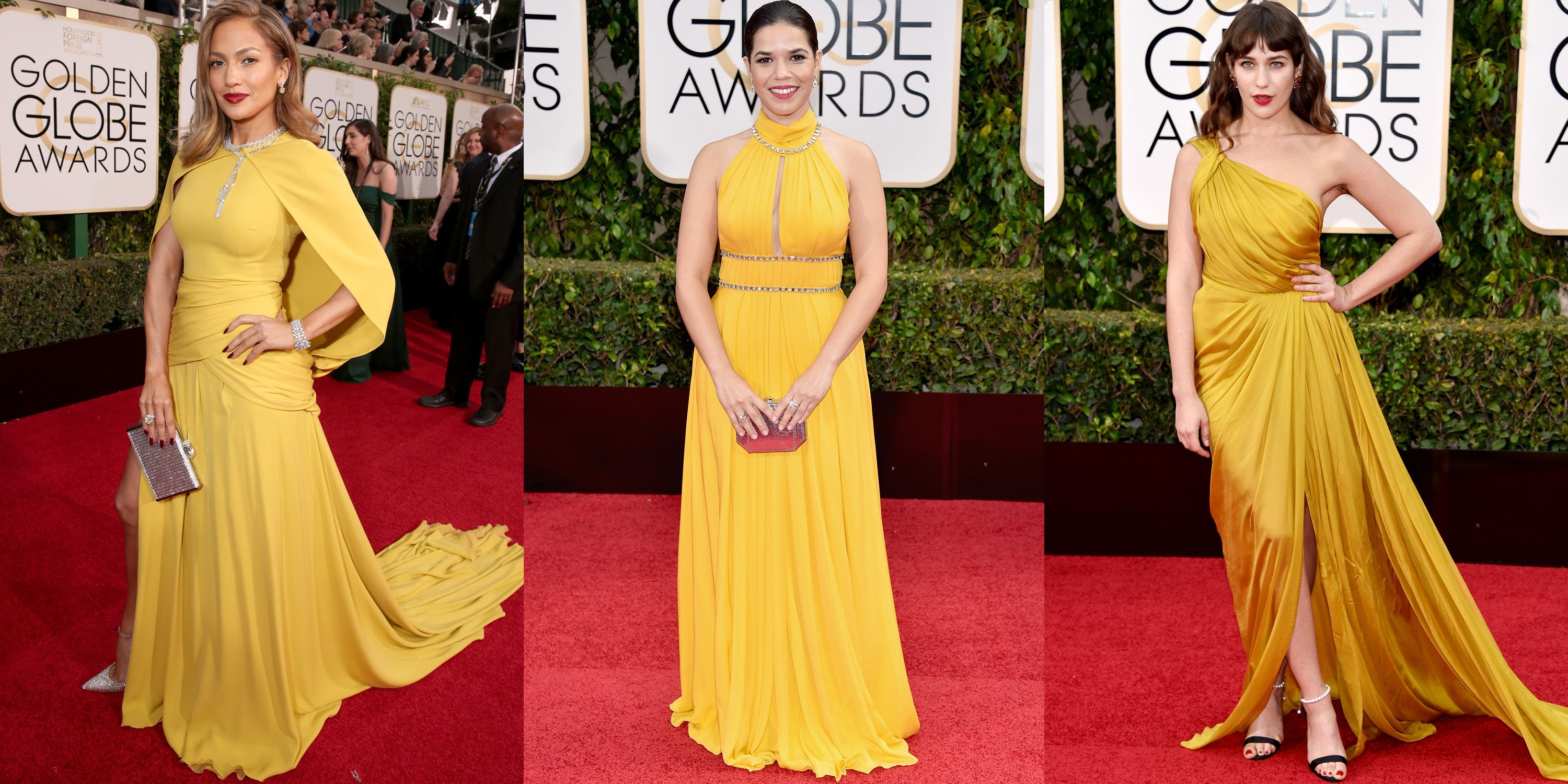 <p>While this controversial color is more likely to wow on olive or darker skin tones, these stars proved that marigold, mustard and ochre work best when paired with a bold red lip.</p><p><em>Pictured: Jennifer Lopez in Giambattista Valli Haute Couture, America Ferrera in Jenny Packham,  Lola Kirke in Monique Lhuillier</em></p>