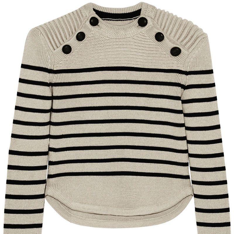 "<p><strong>Isabel Marant</strong> sweater, $905, <a href=""http://www.net-a-porter.com/us/en/product/609468/Isabel_Marant/hatfield-striped-merino-wool-blend-sweater"" target=""_blank"">net-a-porter.com</a>.</p>"