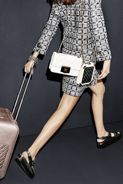 <p>Travel in style with chic—and preferably quilted—luggage.</p><p><em><strong>Chanel</strong> bags,</em><em> $3,200,<strong> </strong></em><em>and suitcase, $7,000, 800-550-0005. </em><br></p><p>The casual classic sandal gets a sophisticated update in luxe leather. </p><p><em><strong>Chanel </strong>jacket, $4,300, skirt, $2,300, bracelets, $10,500, and shoes, $800, <em>800-550-0005. </em></em></p>