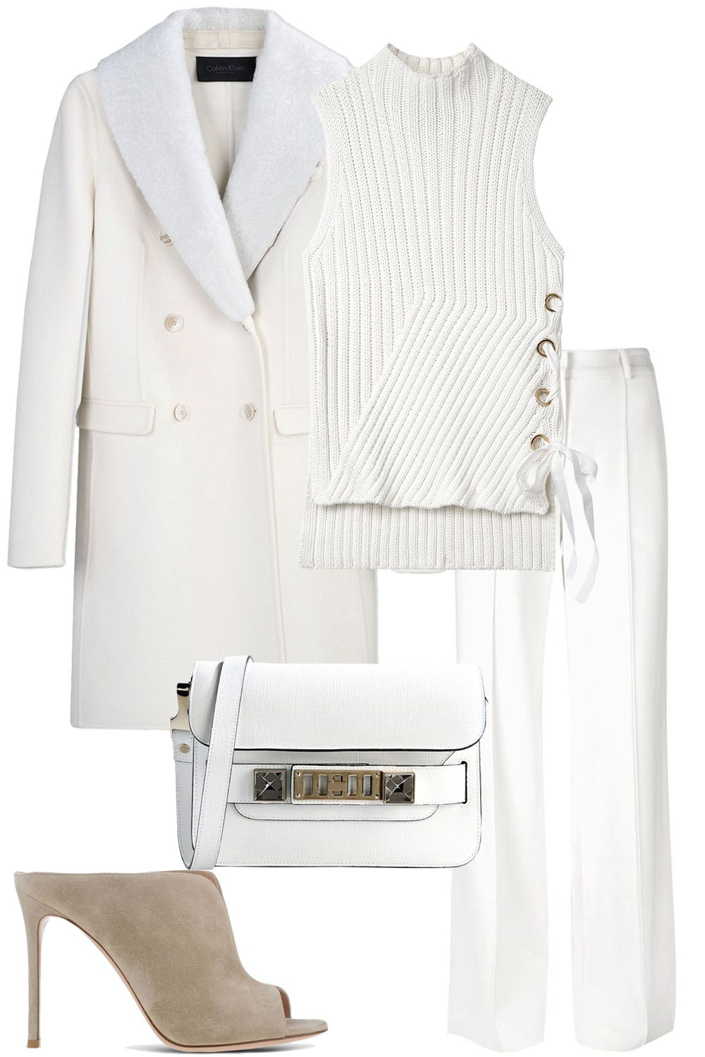 "<strong><i>Calvin Klein</i></strong><i> Collection coat, $1,208, <a href=""https://shop.harpersbazaar.com/designers/c/calvin-klein-collection/white-wool-and-shearling-coat-5438.html"" target=""_blank"">shopBAZAAR.com</a>&#x3B; </i><strong><i>10 Crosby Derek Lam</i></strong><i> top, $395, <a href=""https://shop.harpersbazaar.com/designers/0-9/10-crosby-derek-lam/sleeveless-sweater-with-grommet-detail-7746.html"" target=""_blank"">shopBAZAAR.com</a>&#x3B; </i><strong><i>Adam Lippes</i></strong><i> pant, $790, <a href=""https://shop.harpersbazaar.com/designers/a/adam-lippes/wideleg-trouser-7709.html"" target=""_blank"">shopBAZAAR.com</a>&#x3B; </i><strong><i>Gianvito Rossi</i></strong><i> mules, $765, <a href=""https://shop.harpersbazaar.com/designers/g/gianvito-rossi/beige-clog-7356.html"" target=""_blank"">shopBAZAAR.com</a>&#x3B; </i><strong><i>Proenza Schouler</i></strong><i> bag, $1,620,<a href=""https://shop.harpersbazaar.com/designers/p/proenza-schouler/white-bag-7750.html"" target=""_blank"">shopBAZAAR.com</a>. </i>"
