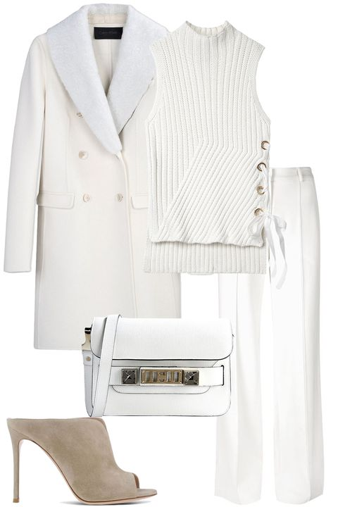 "<strong><i>Calvin Klein</i></strong><i> Collection coat, $1,208, <a href=""https://shop.harpersbazaar.com/designers/c/calvin-klein-collection/white-wool-and-shearling-coat-5438.html"" target=""_blank"">shopBAZAAR.com</a>; </i><strong><i>10 Crosby Derek Lam</i></strong><i> top, $395, <a href=""https://shop.harpersbazaar.com/designers/0-9/10-crosby-derek-lam/sleeveless-sweater-with-grommet-detail-7746.html"" target=""_blank"">shopBAZAAR.com</a>; </i><strong><i>Adam Lippes</i></strong><i> pant, $790, <a href=""https://shop.harpersbazaar.com/designers/a/adam-lippes/wideleg-trouser-7709.html"" target=""_blank"">shopBAZAAR.com</a>; </i><strong><i>Gianvito Rossi</i></strong><i> mules, $765, <a href=""https://shop.harpersbazaar.com/designers/g/gianvito-rossi/beige-clog-7356.html"" target=""_blank"">shopBAZAAR.com</a>; </i><strong><i>Proenza Schouler</i></strong><i> bag, $1,620,<a href=""https://shop.harpersbazaar.com/designers/p/proenza-schouler/white-bag-7750.html"" target=""_blank"">shopBAZAAR.com</a>. </i>"