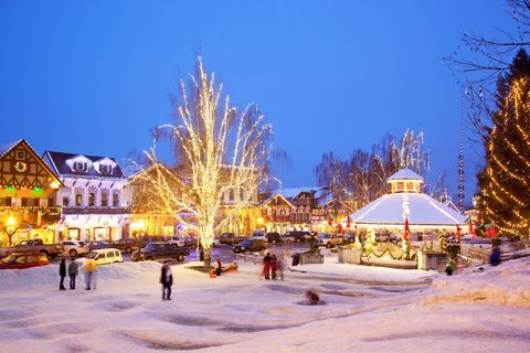 "<p>On any given day <a href=""http://www.leavenworth.org/"" target=""_blank"">this Bavarian-themed town</a> gives off an Alpine holiday air, but during snowy December, 21 miles of lights trace each peaked roof of the half-timbered village and run scallops along fences. The holiday is anticipated with handbell concerts, a lively weekend-long Christkindlmarkt, harp music, and a weekly festival around the town tree with carolers, <i data-redactor-tag=""i"">Gluhwein,</i> and sledding.</p>"