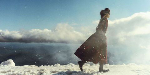 Winter, Standing, People in nature, Dress, People on beach, Snow, Day dress, One-piece garment, Star, Ice cap,