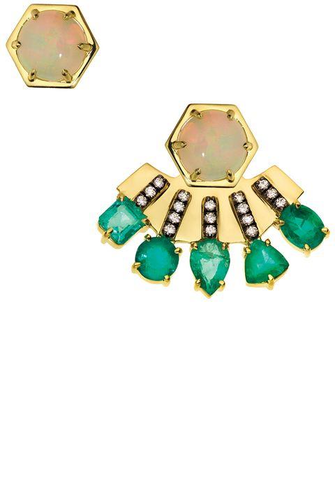 Opal & Emerald Ear Jacket & Stud