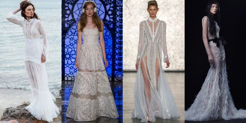 "<p>Peekaboo panels, sheer slits and allover illusion dominated the Fall 2016 bridal runways, and most of the standouts  showed off long legs and toned arms without feeling too bare for bridal. Strategically placed tulle, lace and gossamer mesh made all-covered up styles feel weightless, and see-through skirts are the best way to show off killer heels.</p><p><em><a href=""http://www.costarellos.gr/"">Christos Costarellos</a> 2016 Collection; <a href=""http://www.reemacra.com/Collections/Bridal#2"">Reem Acra</a> Fall 2016; <a href=""http://www.inbaldror.co.il/en"">Inbal Dror</a> 2016 Collection; <a href=""http://www.verawang.com/EN/wedding/bridal-collection/fall-2016/3016-patrizia-1"">Vera Wang Bride</a> Fall 2016.</em></p>"