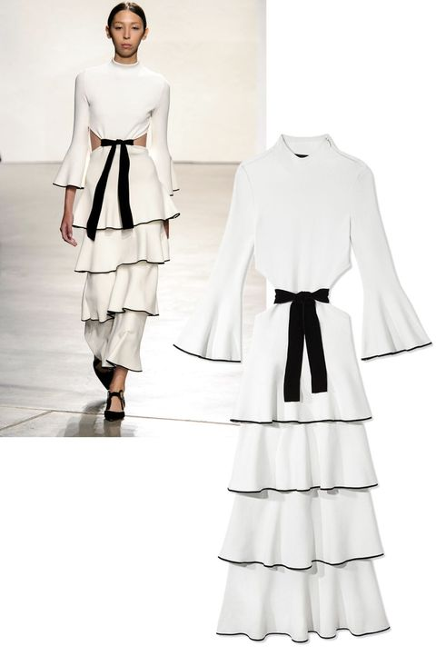 "<p>For Spring, Spanish-inspired ruffles at  Proenza Schouler produced the most fetching of dresses. Immediate love affair. </p><p><em><strong>Proenza Schouler</strong></em><em> dress, $3,995, <strong><a href=""https://shop.harpersbazaar.com/designers/p/proenza-schouler/mock-neck-ruffled-gown-with-bow-7961.html"" target=""_blank"">shopBAZAAR.com</a></strong>.</em><br></p>"