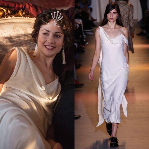 Dress, Formal wear, Hair accessory, Gown, Headpiece, Fashion accessory, One-piece garment, Fashion, Tiara, Fashion model,
