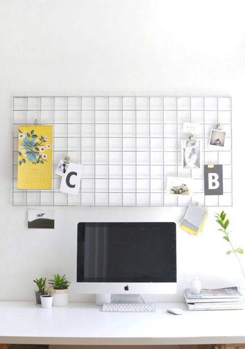 "<p>Blogger Caroline Burke's repurposed <a href=""http://www.burkatron.com/2015/06/diy-home-office-metal-memo-board.html"">metal mesh wall hanger</a> could work equally well in a home office (one corner of your kitchen) or as an impromptu prep station (the other corner of your kitchen.)</p>"