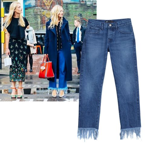 "<p> 	Fringed denim isn't going anywhere, and looks just as good with winter boots as summer sandals or platforms. New York Fashion Week, anyone?</p><p><em>3x1 jeans, $295, <a href=""http://3x1.us/shop-women/wm3-crop-fringe-lima/"" target=""_blank"">3x1.us</a>.</em></p>"