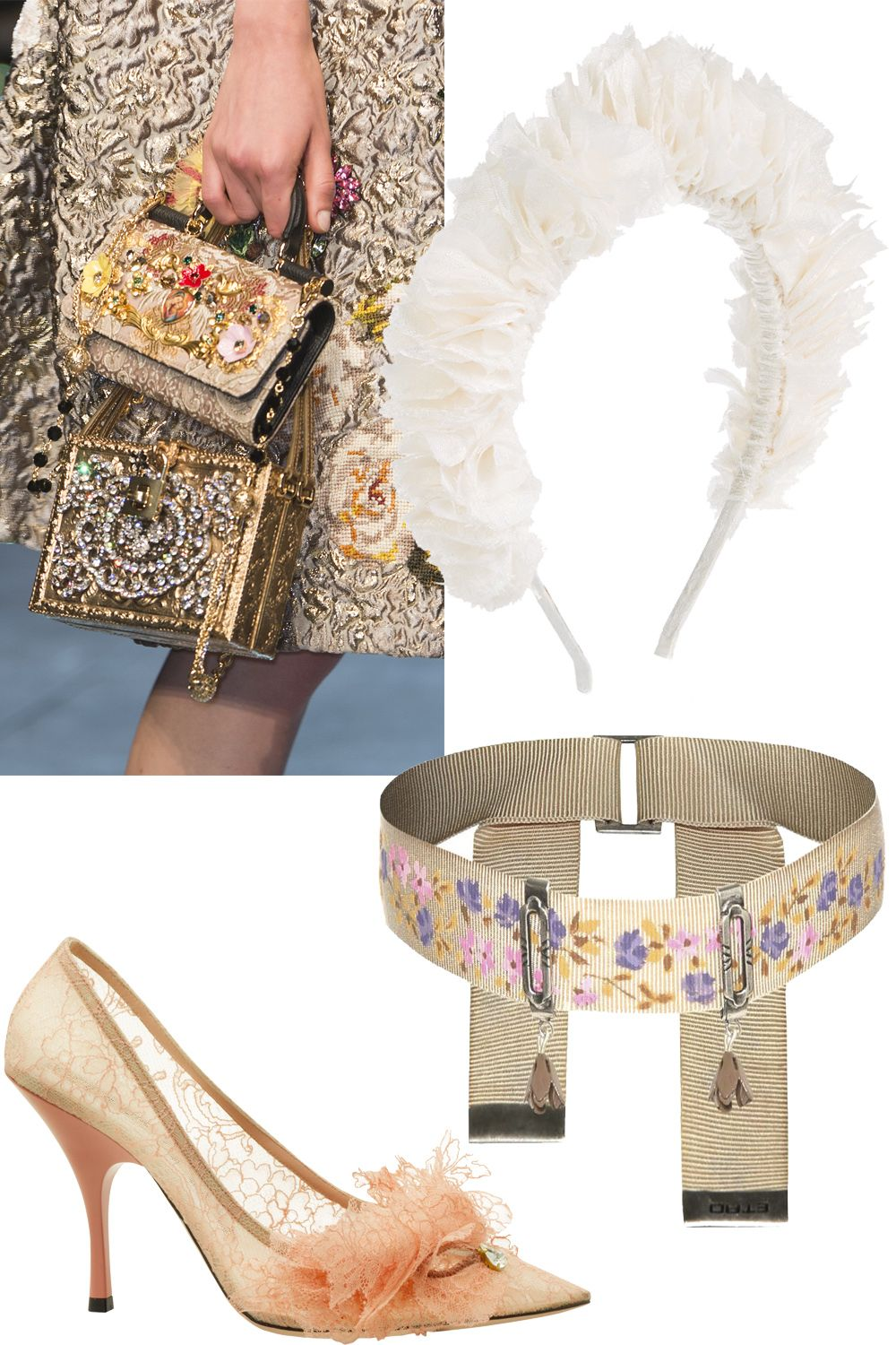 "<p>Lace flounces, encrusted minaudieres, brocade, ribbon collars and ruffled crowns take this look to the next level.</p><p><em>Dolce & Gabbana Spring 2016 handbags; Rochas Spring 2016 lace pump; Etro Spring 2016 ribbon choker; YUNOTME silk headband, $300, <a href=""https://www.net-a-porter.com/us/en/product/648259/yunotme/flock-silk-jacquard-headband"">net-a-porter.com</a>.</em></p>"