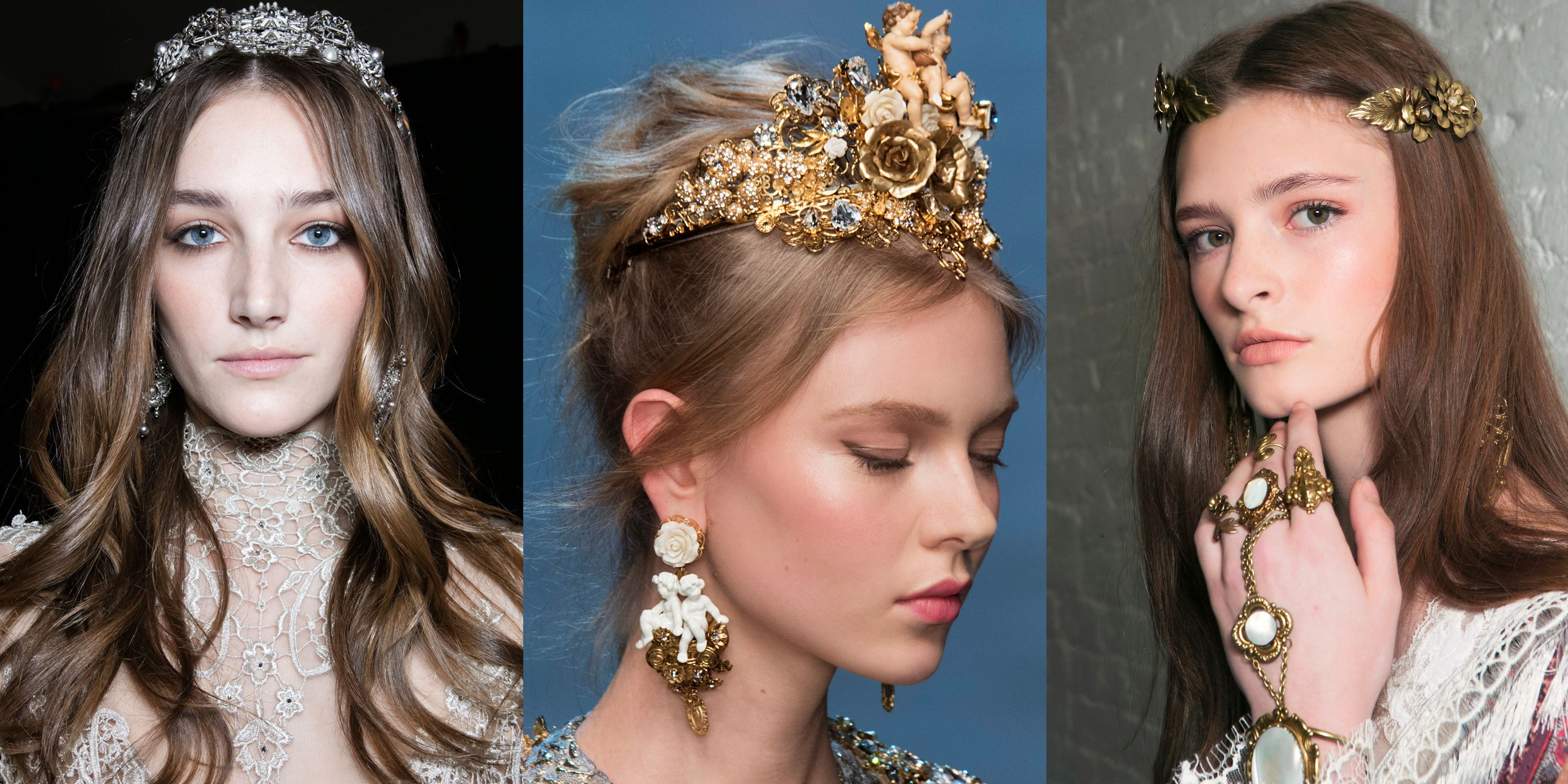 <p>Rosy cheeks, dewy skin and dramatic headpieces add a period piece to an otherwise simple look, or up the ante on an already of-the-time ensemble.</p><p><em>Elie Saab Haute Couture Spring 2016&#x3B; Dolce & Gabbana Spring 2016&#x3B; Rodarte Spring 2016.</em></p>