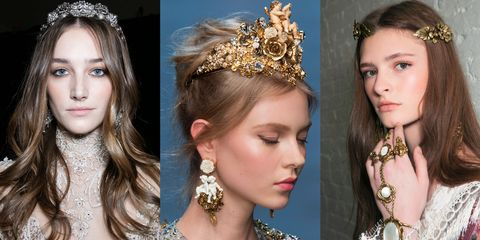<p>Rosy cheeks, dewy skin and dramatic headpieces add a period piece to an otherwise simple look, or up the ante on an already of-the-time ensemble.</p><p><em>Elie Saab Haute Couture Spring 2016; Dolce & Gabbana Spring 2016; Rodarte Spring 2016.</em></p>