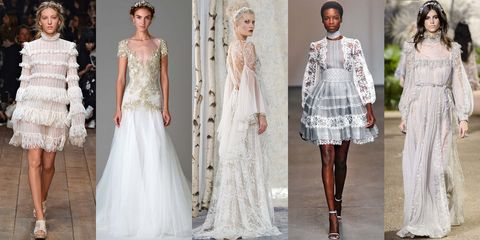 <p>Loads of gossamer lace, mock necklines, empire waistlines, gilded embroidery and blouson sleeves are telltale signs that you're doing this look justice. Embellishments like ruffles, soft tiers and floral motifs are par for the course when channeling today's version of old-school royalty.</p><p><em>Alexander McQueen Spring 2016; Marchesa Bridal Fall 2016; Elizabeth Fillmore Bridal Fall 2016; Zimmermann Spring 2016; Elie Saab Haute Couture Spring 2016.</em></p>