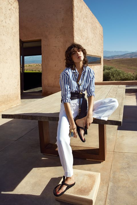 "<p><strong>Ralph Lauren Collection</strong> shirt, $590, and pants, $1,290, <a href=""http://www.ralphlauren.com/home/index.jsp?direct"" target=""_blank"">ralphlauren.com</a>; <a href=""http://www.chloe.com/?mid=2300jbx17334&mkwid=saqsJ47kU_dc&pcrid=71740750231&kword=chloe&match=e&plid=&gclid=CjwKEAiAuKy1BRCY5bTuvPeopXcSJAAq4OVsLOZ7bUO4oHC3Oa3VukfVNjGTI9XMZiVn2HcSjsDhkhoCCXjw_wcB#/en"" target=""_blank"">Chloé</a> necklace, $690, Barneys New York, 888-8-BARNEYS; <strong><a href=""https://www.gabrielahearst.com/"" target=""_blank"">Gabriela Hearst</a></strong> shawl (worn as belt), $395, Barneys New York, 888-8-BARNEYS; <strong><a href=""http://www.chloe.com/?mid=2300jbx17334&mkwid=saqsJ47kU_dc&pcrid=71740750231&kword=chloe&match=e&plid=&gclid=CjwKEAiAuKy1BRCY5bTuvPeopXcSJAAq4OVsEvyTUDyVc7_cqkiMkuRF5CN0kJ-MSKidMVgriuDDYBoCL5nw_wcB#/en"" target=""_blank"">Chloé</a></strong> bracelet, $640, 212-717-8220; <strong><a href=""http://www.isabelmarant.com/en/"" target=""_blank"">Isabel Marant</a></strong> sandals, $540, 212-219-2284.</p>"