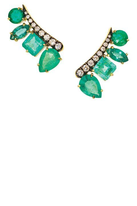 Emerald & Pave Set Diamond Climbers