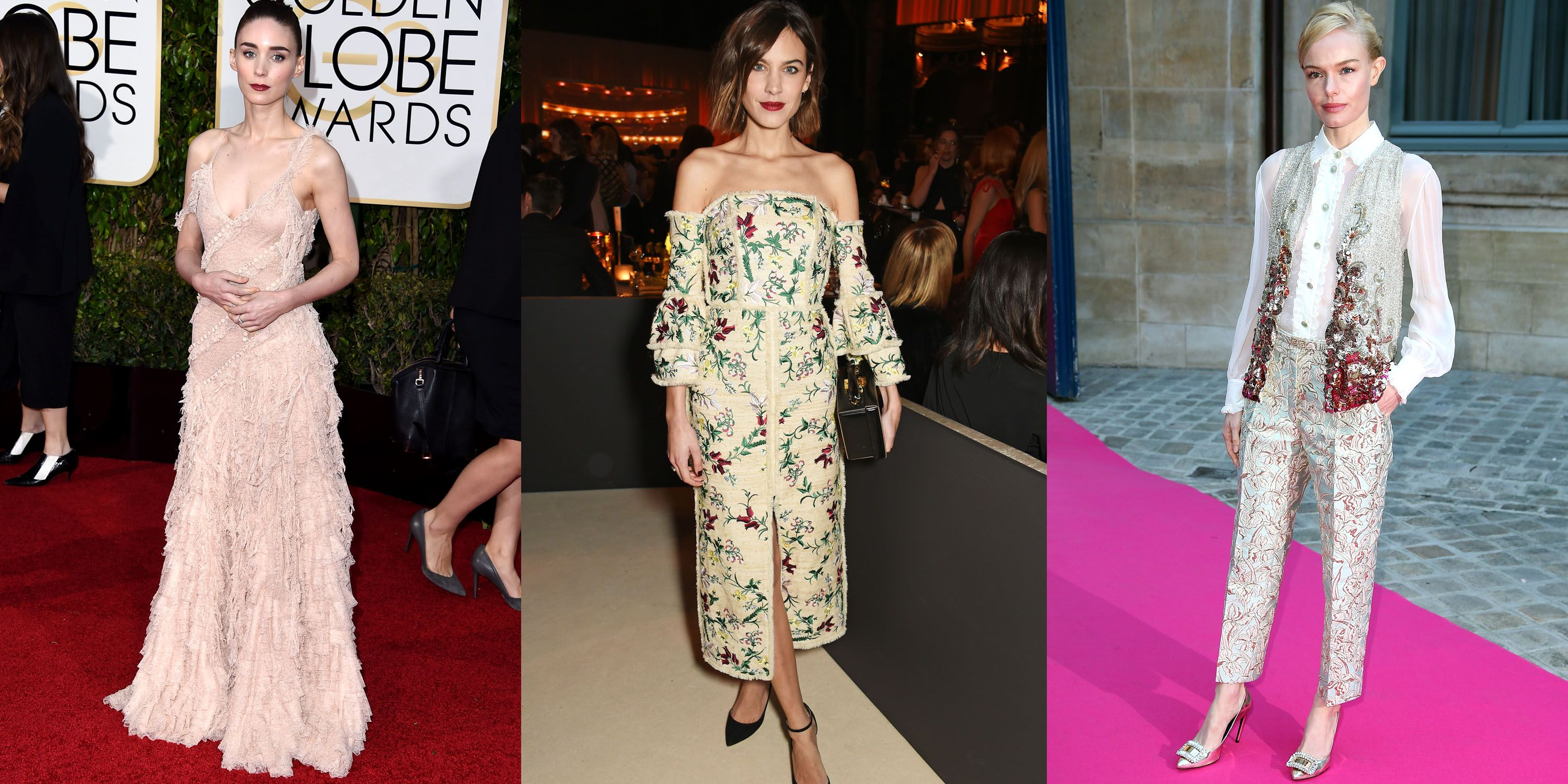 <p>Pastels, florals, and beading for days—the red carpet is looking ladylike. Meet the muses: Rooney Mara, Alexa Chung and Kate Bosworth.</p>
