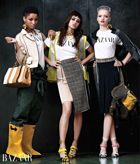 "<p><em>On Lineisy: <strong>Prada </strong>jacket, earring, neckpiece, and bag, <a href=""http://www.prada.com/en.html?cc=US"" target=""_blank"">prada.com</a>&#x3B; <strong>Dickies </strong></em><span class=""redactor-invisible-space"" style=""line-height: 1.6em&#x3B; background-color: initial&#x3B;""><em>jumpsuit, <a href=""http://www.dickies.com/"" target=""_blank"">dickies.com</a>&#x3B; On Greta: <strong>Prada </strong></em><span class=""redactor-invisible-space""><em>skirt, apron, neckpiece, and shoes, <a href=""http://www.prada.com/en.html?cc=US"" target=""_blank"">prada.com</a>&#x3B; On Rush: <strong>Prada </strong></em><span class=""redactor-invisible-space""><em>jacket, skirt, apron, earring, and shoes, <a href=""http://www.prada.com/en.html?cc=US"" target=""_blank"">prada.com</a>. </em></span></span></span></p>"
