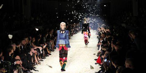Footwear, People, Trousers, Winter, Runway, Fashion show, Fashion, Jacket, Crowd, Street fashion,