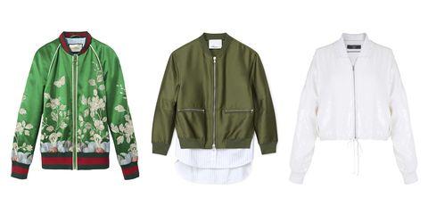 "<p><strong><i>Gucci</i></strong><i> floral bomber, $3,500, </i><strong><i><a href=""https://shop.harpersbazaar.com/designers/g/gucci/silk-garden-duchess-bomber-jacket-8014.html"" target=""_blank"">shopBAZAAR.com</a></i></strong><i>; </i><strong><i>3.1 Phillip Lim</i></strong><i> green bomber, $850, </i><strong><i><a href=""https://shop.harpersbazaar.com/designers/0-9/31-phillip-lim/army-green-bomber-jacket-8159.html"" target=""_blank"">shopBAZAAR.com</a></i></strong><i>; </i><strong><i>Tibi</i></strong><i> sequin bomber, $875, </i><strong><i><a href=""https://shop.harpersbazaar.com/designers/t/tibi/all-over-sequins-cropped-bomber-8010.html"" target=""_blank"">shopBAZAAR.com</a></i></strong><i>. </i></p>"