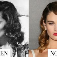 <p>Lily James puts a silkier finish on her mid-length curls inspired by Katharine Hepburn.</p>