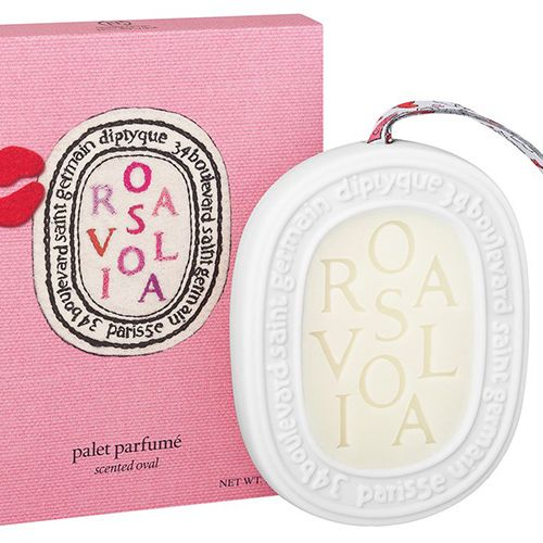 """<p><strong>Diptyque x Olympia Le-Tan</strong> Rosaviola Scented Oval, $50, <a href=""""https://www.net-a-porter.com/us/en/product/718184?cm_mmc=ProductSearchUS_PLA_c-_-Diptyque-_-Beauty-Fragrance-Fragrance-_-120533767522_718184-005&gclid=CPKx6Y7F18oCFYEYHwod7xAO8w"""" target=""""_blank"""">net-a-porter.com</a>.</p>"""