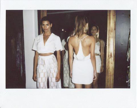 Shoulder, Photograph, Standing, Waist, Trunk, Beige, Flash photography, Snapshot, Chest, One-piece garment,
