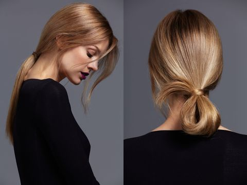 "<p>""A loop is a nice change from a basic ponytail. It's not too formal or structured, and it looks great with a backless dress,"" says New York City hairstylist Jennifer Yepez, who created the looks for this story. For a sleek look, do a blowout then apply a hair serum like <a href=""http://www.nexxus.com/product/detail/890320/products-therappehumectress-encapsulateserum?gclid=CjwKEAiA9JW2BRDxtaq2ruDg22oSJACgtTxcKI3rW12GnwDDmotVVIsxT2fVTtuvaEJxbob532PWyBoCBE7w_wcB&gclsrc=aw.ds"" target=""_blank"">Nexxus Encapsulate Serum</a> from mid-shaft to the ends for extra polish and shine. Pull your hair back and start to make a regular ponytail, but don't pull the tail all the way through. Grab a piece of hair from the loop, wrap it around your elastic band and secure it with a pin.</p>"