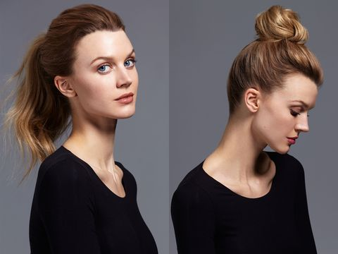 "<p>On a busy morning, it's easy to fall back on a quick ponytail, but a braided bun is fresher—and just as easy. Prep your hair with a thickener like <a href=""http://www.oribe.com/grandiose-hair-plumping-mousse.html"" target=""_blank"">Oribe Grandiose Hair Plumping Mousse</a> then pull hair up into a high ponytail. Make a braid and secure the end with a small elastic. Gently loosen up the braid, wrap it around and pin.</p>"