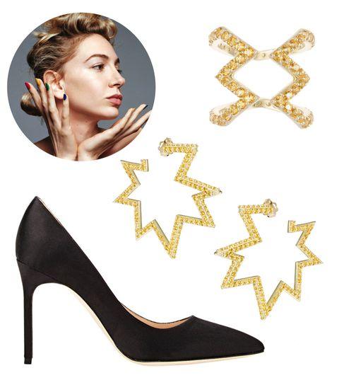 Yellow, High heels, Eyelash, Basic pump, Fashion, Beauty, Court shoe, Beige, Material property, Sandal,