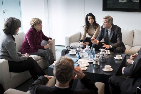 Angela Merkel, George Clooney, Amal Clooney