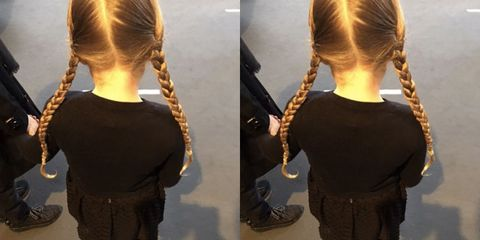 Hair, Hairstyle, Standing, Style, Fashion, Neck, Long hair, Back, Hair accessory, Braid,