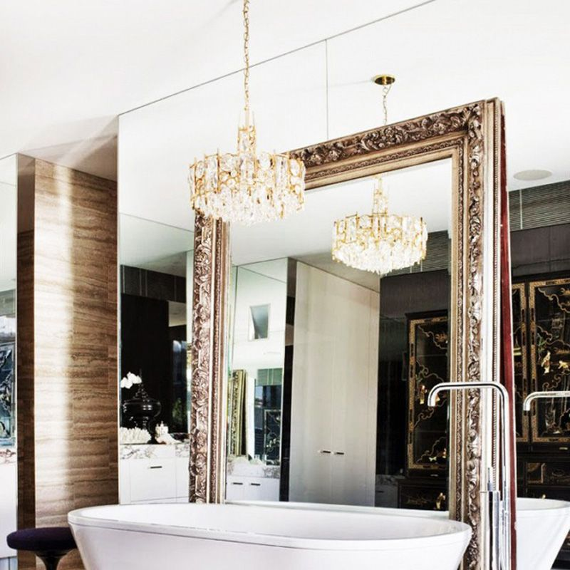 """<p>Not only does a mirror open up a room, but one that's oversized with gilded tones looks nothing short of regal. </p><p><em><a href=""""http://www.davidhicks.com/#/projects/residential"""" target=""""_blank"""">Via David Hicks</a></em></p>"""