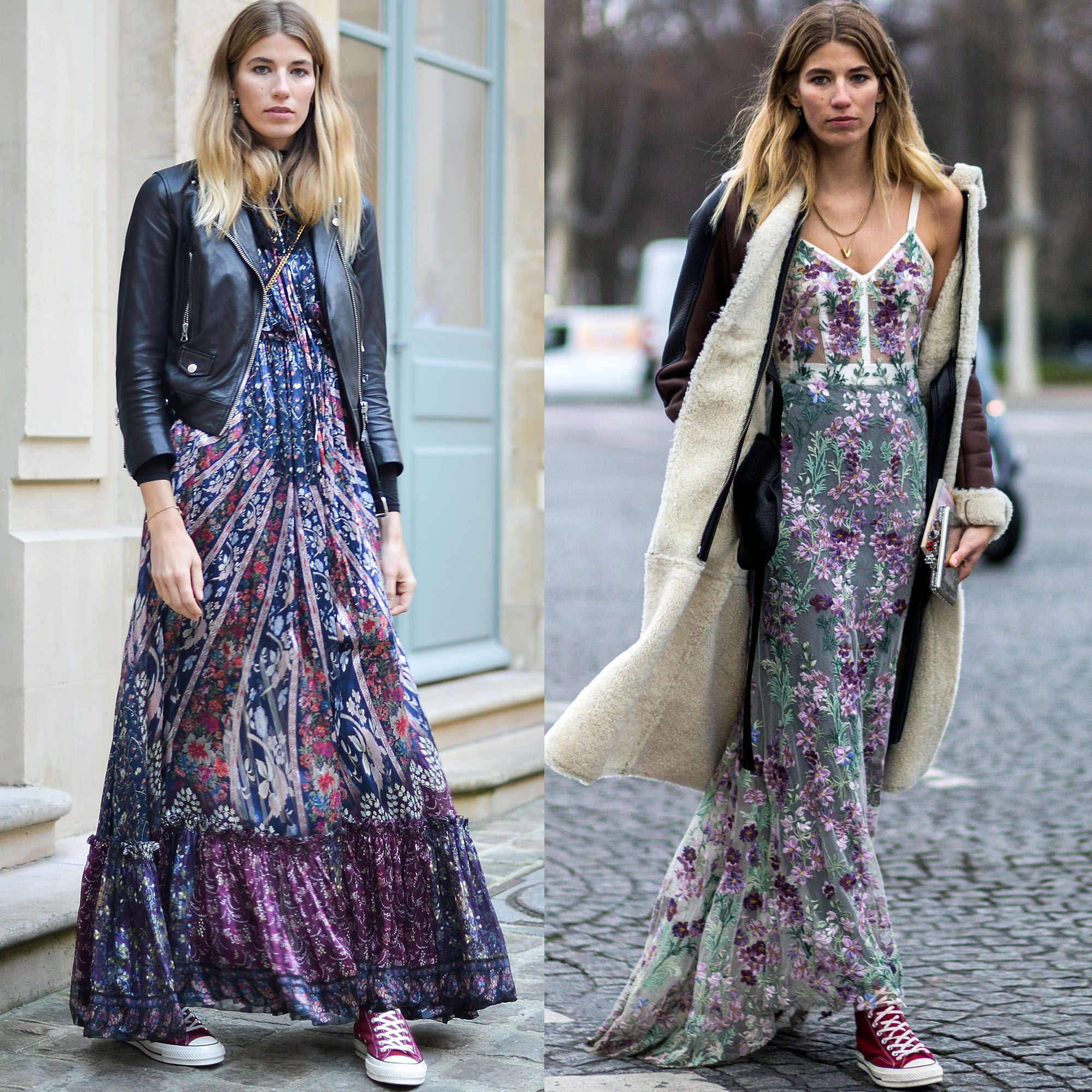 <p>Note Veronika Heilbrunner's (basically) entire wardrobe as your mood board for a modern take on grunge. Floaty floral dresses, check. Worn-in Cons, check. Tough-girl jackets, check and check. </p>