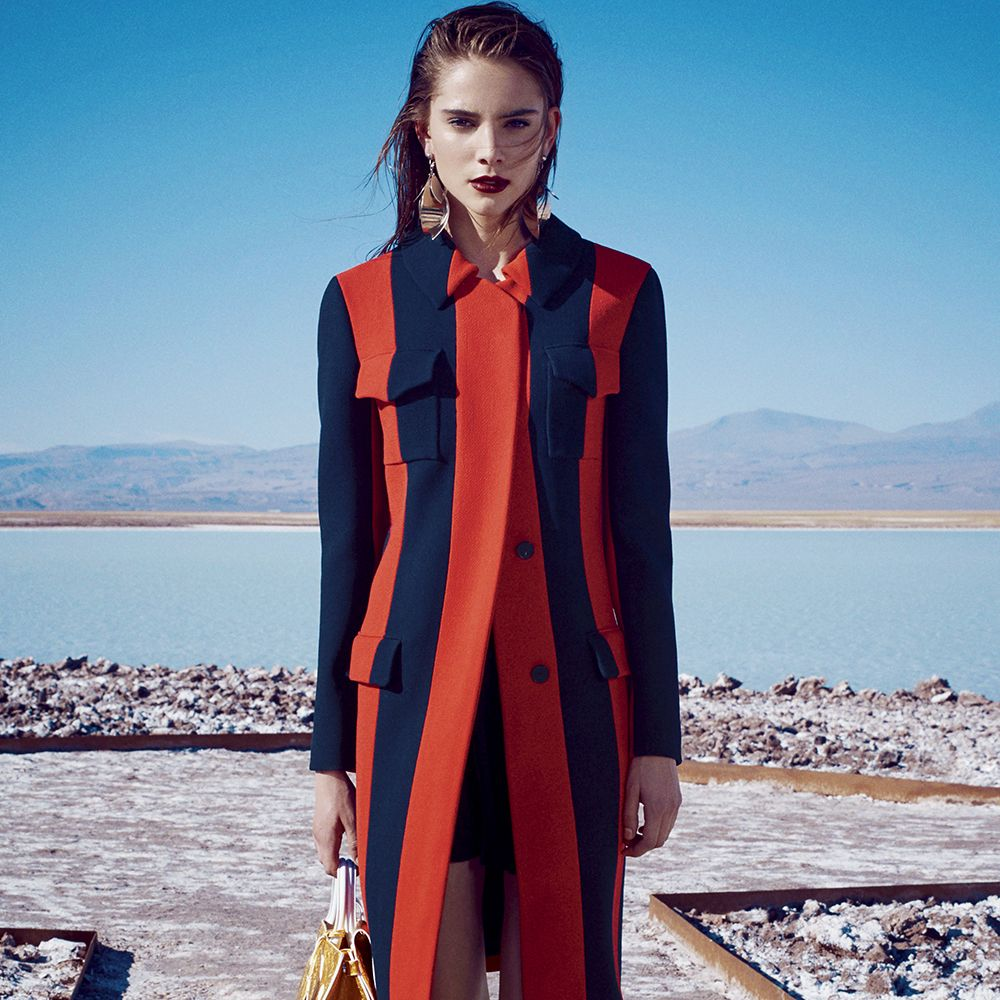 """<p><strong></strong><strong>Dior</strong> coat, $4,700, skirt, $4,800, and bag, $3,700, 800-929-DIOR&#x3B; <strong>Proenza Schouler </strong>earrings, $550, and shoes, $1,170, <a href=""""https://www.proenzaschouler.com/"""" target=""""_blank"""">proenzaschouler.com</a>.  </p>"""