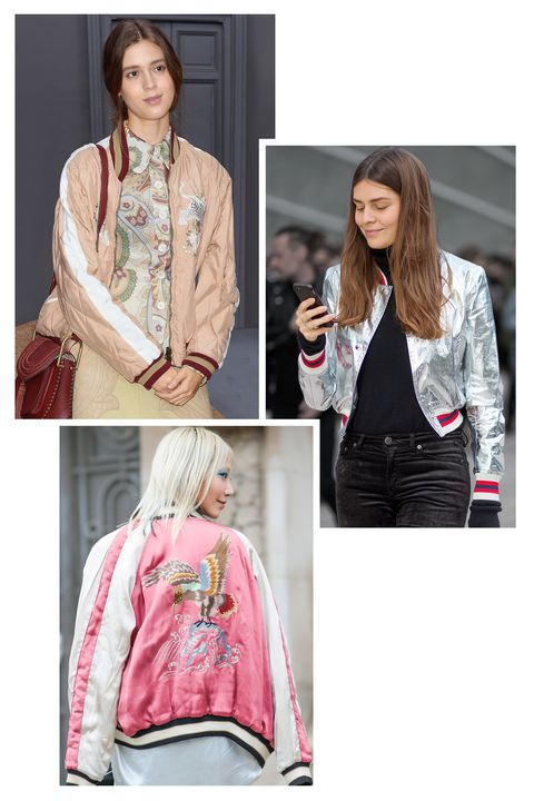 <p>Hit the pavement in the outerwear item of choice for models off-duty: the slouchy bomber jacket. Playup the retro feel with vintage-inspired prints. Start with bold colors and layer over a T-shirt and skinny jeans.</p>