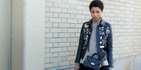 Collar, Jacket, Outerwear, Coat, Bag, Street fashion, Brick, Pocket, Leather, Shoulder bag,