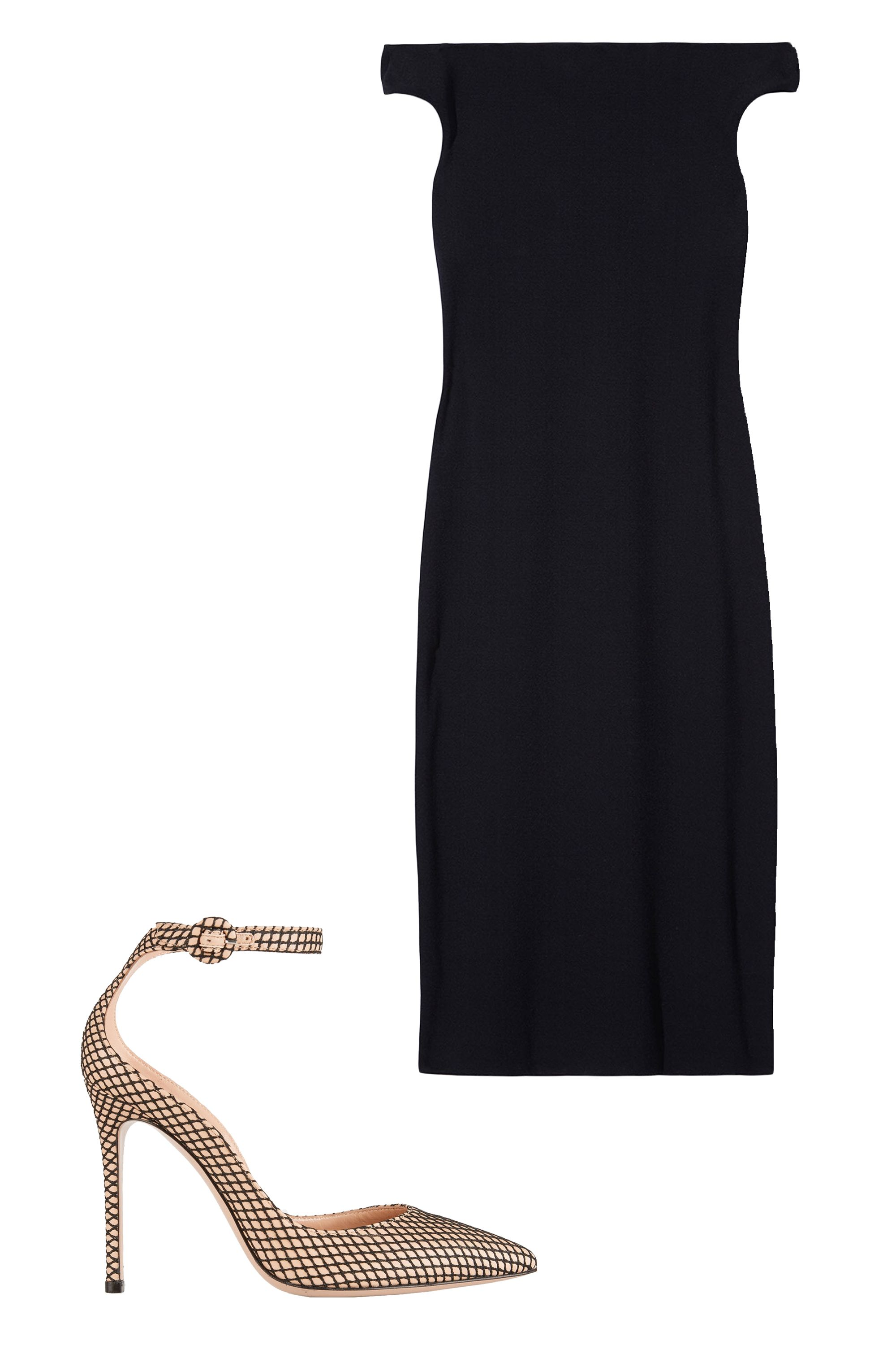 "<p>Never leave home without a sophisticated LBD. It stands alone, or you can slip a lightweight knit on top to turn it into a pencil skirt. <em>Tibi Off-the-Shoulder Midi Dres</em><em>s, $425, <strong><a href=""https://shop.harpersBAZAAR.com/designers/t/tibi/off-the-shoulder-midi-dress-6083.html"" target=""_blank"">shopBAZAAR.com</a>&#x3B; </strong></em><em>Gianvito Rossi Leather and Fishnet Pumps, $845, <strong><a href=""https://www.net-a-porter.com/us/en/product/639383/gianvito_rossi/leather-and-fishnet-pumps"" target=""_blank"">netaporter.com</a></strong>.</em></p>"