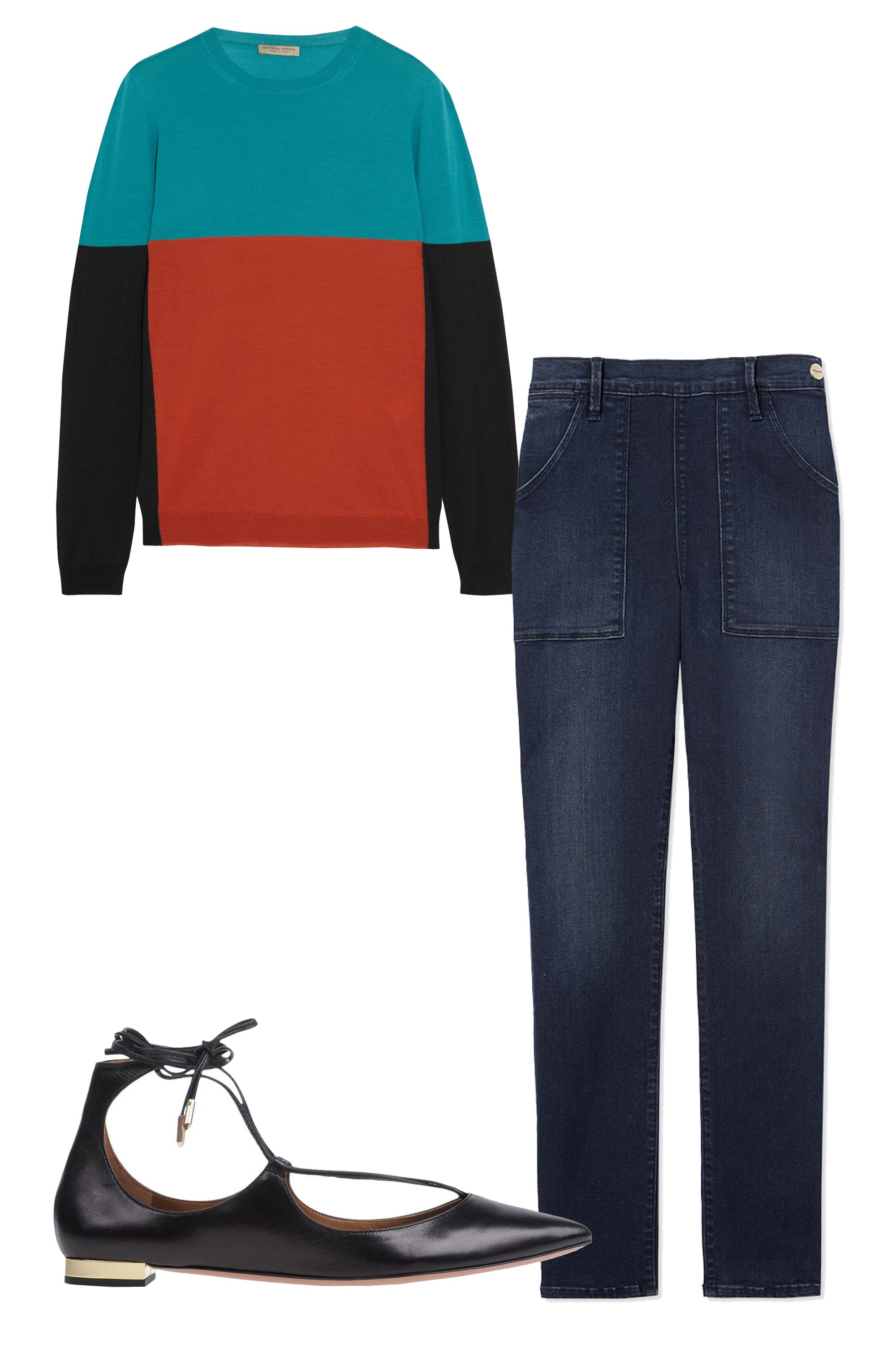 "<p>Opt for dark denim with a bit of stretch for maximum comfort and style, then pack a lightweight cozy sweater and a chic pair of flats. Bonus: you can repeat this look for brunch. <em>Bottega Veneta Color-Block Merino Wool Sweater, $1,100,<strong> </strong><a href=""https://www.net-a-porter.com/us/en/product/637834"" target=""_blank""><strong>netaporter.com</strong></a>&#x3B; <em>Frame Le Skinny Francoise Jeans, $239, <a href=""https://shop.harpersbazaar.com/designers/f/frame/le-skinny-de-francoise-7847.html"" target=""_blank""><strong>shopBAZAAR.com</strong></a>&#x3B; </em></em><em>Aquazzura Black Tie Ballerina Flat, $675, <a href=""https://shop.harpersBAZAAR.com/designers/a/aquazzura/black-ballerina-flat-7433.html"" target=""_blank""><strong>shopBAZAAR.com</strong></a>.</em></p><p><em></em><br></p><p><br></p><p><br></p>"