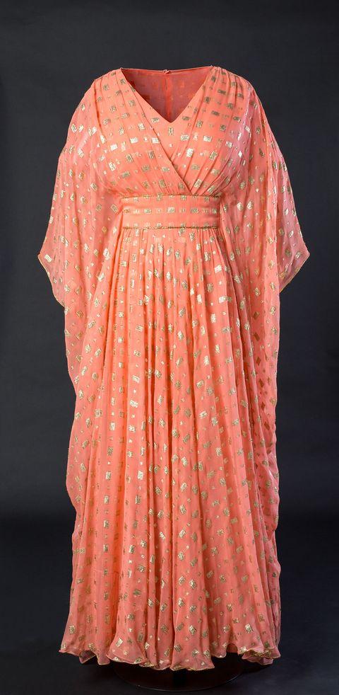 Sleeve, Textile, Red, Dress, Pink, Pattern, Peach, Orange, One-piece garment, Fashion,