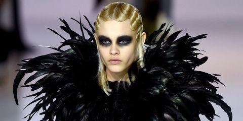 Hairstyle, Eyelash, Iris, Fashion, Fur, Fashion model, Animal product, Goth subculture, Fur clothing, Blond,