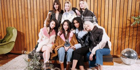 Clothing, People, Trousers, Social group, Outerwear, Sitting, Jacket, Winter, Fashion, Youth,